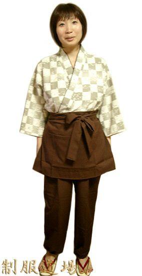 KY11110 作務衣シャツ #市松・和モダン・茶色 /  KY11083 作務衣ズボン #茶色/  KY11020 前掛けエプロン【短】 #茶色