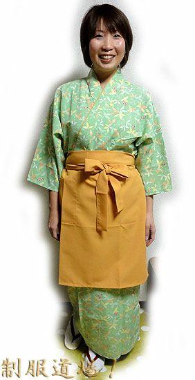 KY11112 作務衣シャツ #グリーン系 /  KY11114 和風スカート #グリーン系 /  KY11018 前掛けエプロン【長】#イエロー