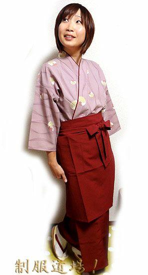 KY11118 和風スカート #ローズ色 /  KY11007 前掛けエプロン【長】 #ローズ色 ※作務衣シャツは完売致しました。