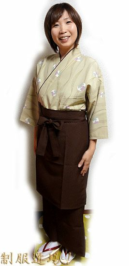 KY11119 和風スカート #焦げ茶色 /  KY11017 前掛けエプロン【長】 #焦げ茶色 ※作務衣シャツは完売致しました。