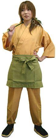 KY11129 作務衣シャツ #黄色 /  KY11130 作務衣パンツ #黄色 /  KY11027 前掛けエプロン #グリーン