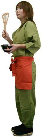 KY11131 作務衣シャツ #グリーン /  KY11132 作務衣パンツ #グリーン / KY11009 前掛けエプロン #オレンジ
