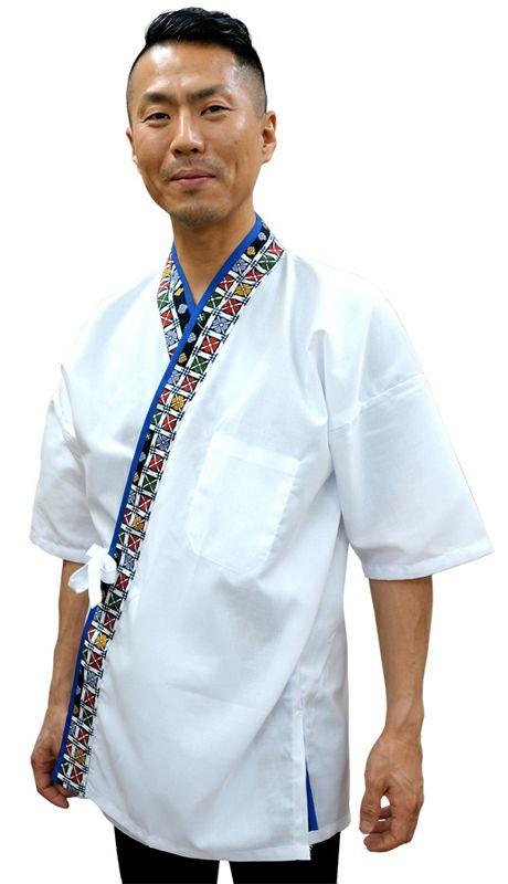 【TH11059 花格子衿白甚平(半袖)】 前面着用写真(Lサイズを着用してます。)