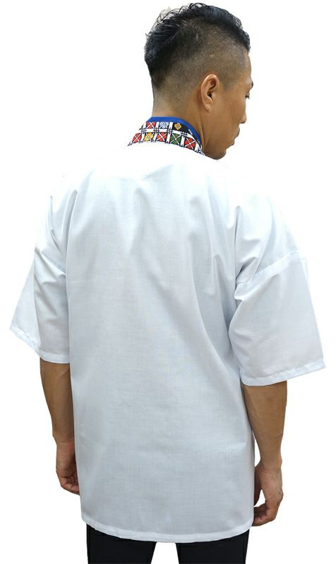【TH11059 花格子衿白甚平(半袖)】 後ろ着用写真(Lサイズを着用してます。)