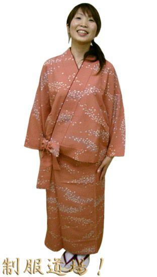 #桜横流吹き・ピンク /【リボン型】二部式着物