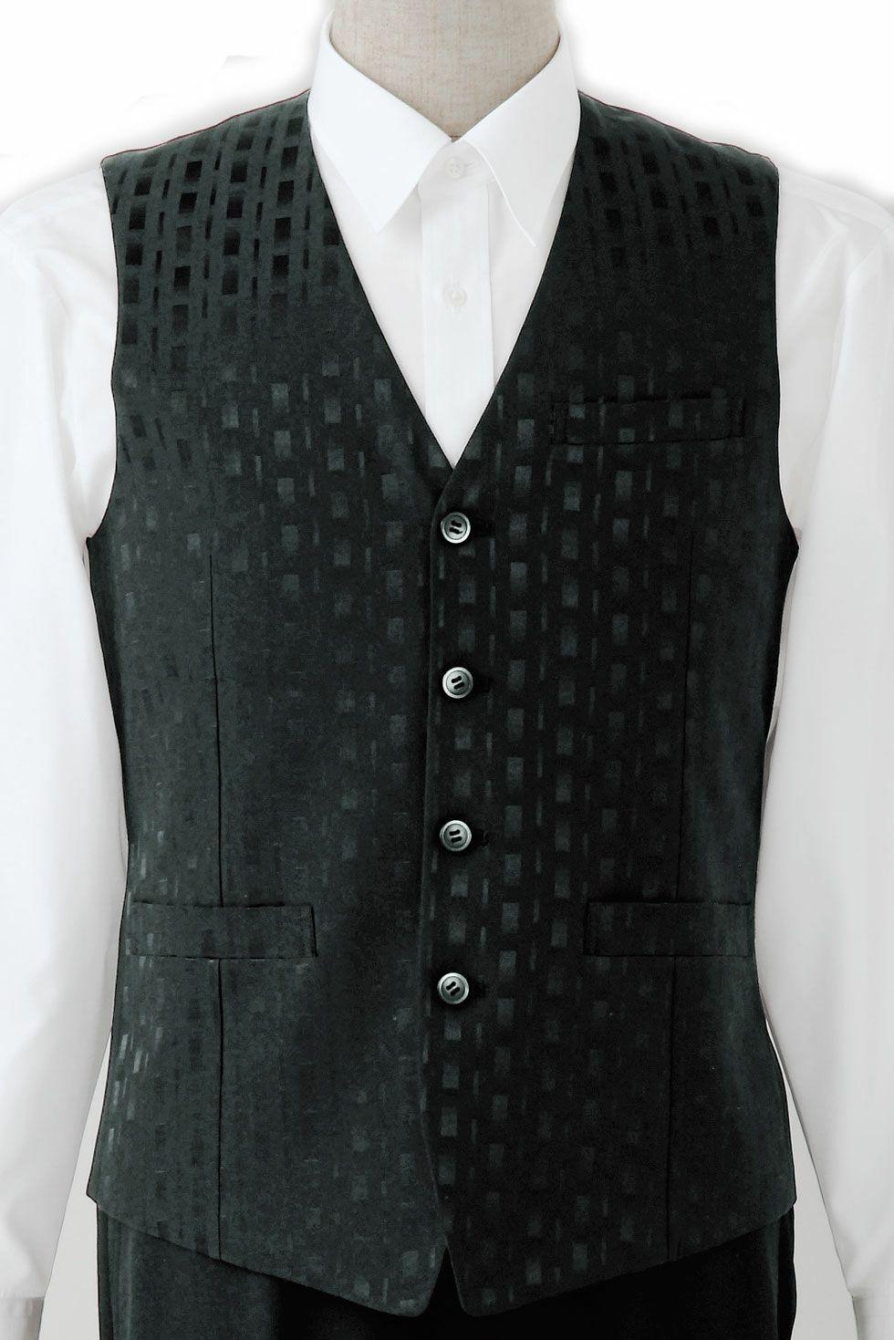 ブラック/竹の織柄がおしゃれでかっこいい高級メンズ黒ベスト
