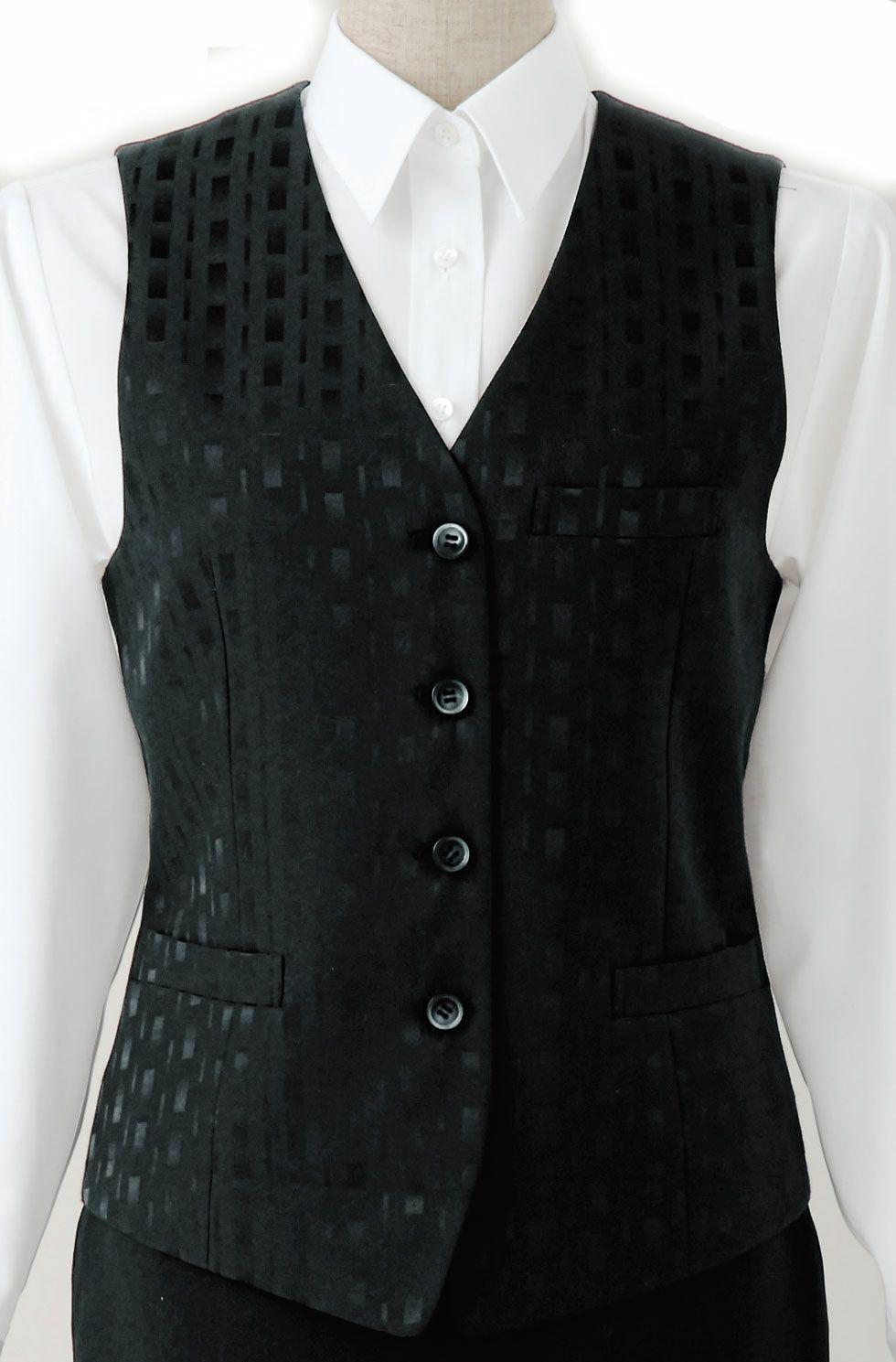 ブラック/竹の織柄がおしゃれでかっこいい高級レディース黒ベスト