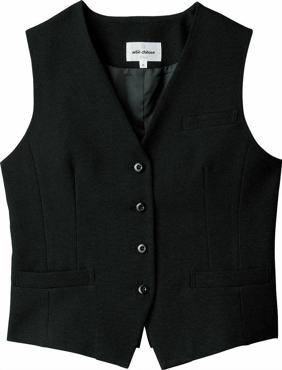 ブラック/ストレッチのレディース仕事用スーツベスト