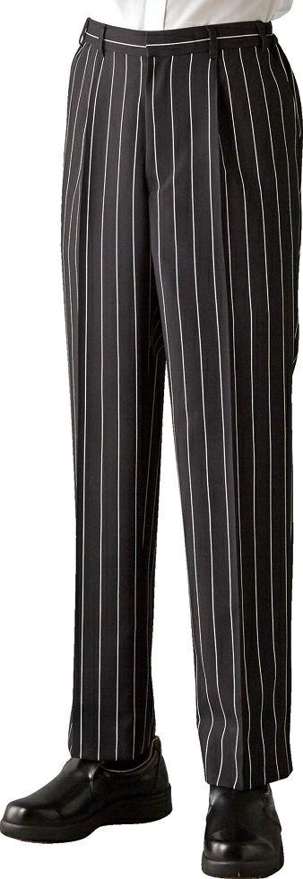 ブラック#C10/【ストライプ】業務用ストレッチパンツ(ゆったり脇ゴム。男女兼用)