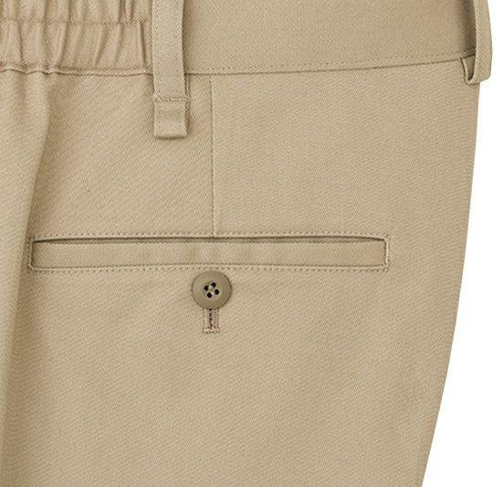 後ろ両側には丈夫な片玉縁ポケットを設置。左はボタン留め仕様になってますので落下を防ぎます。