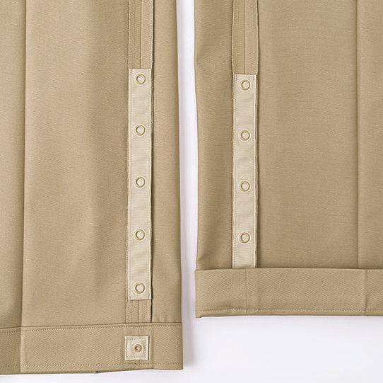 裾上げに使うホックは金属アレルギーの心配がない樹脂製を使用してますので安心です!