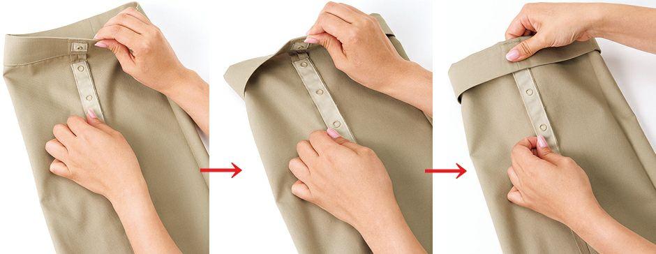 手間と時間のかかる裾上げテープなどの裾上げとは違い、ワンタッチでできるのでラクラク。着用者の股下サイズに合わせて5段階、最大12�Bの調整が可能なので作業内容によって裾が汚れないように上げたり、その都度調整が自由に出来るので大変便利です。