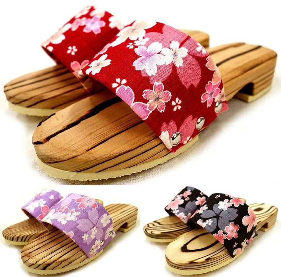 桜柄の和風木製サンダルつっかけ下駄(レディース用・日本製)