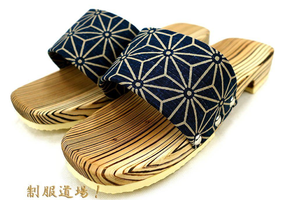 麻柄の木製サンダル下駄 濃紺(ネイビー)