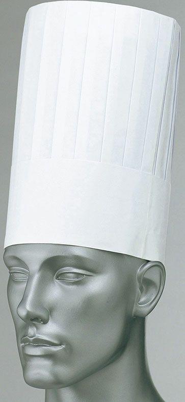 ホワイト(白色)#001/で使い捨て業務用コック帽