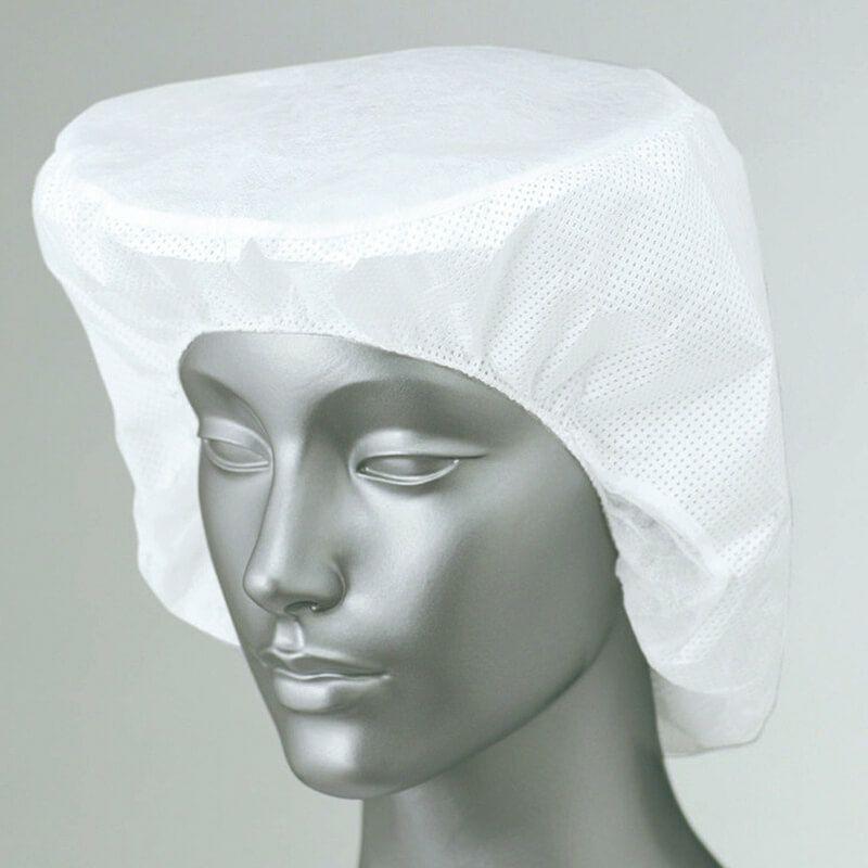 ホワイト/【1セット50枚入り】食品工場帽子(毛髪落下帽子)