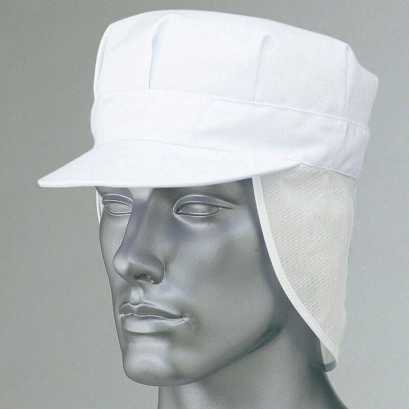 ホワイト/食品工場帽子(メッシュ付き)