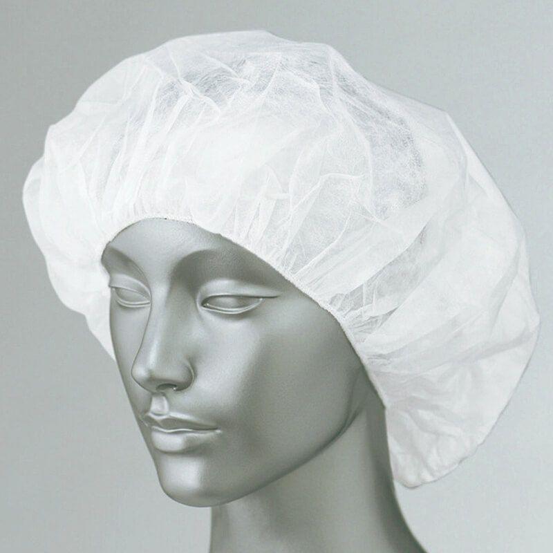 ホワイト/【1セット100枚入り】食品工場帽子(不織布クリーンキャップ)