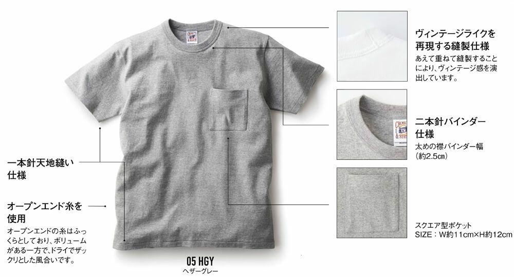 ポケット付き厚手Tシャツ詳細
