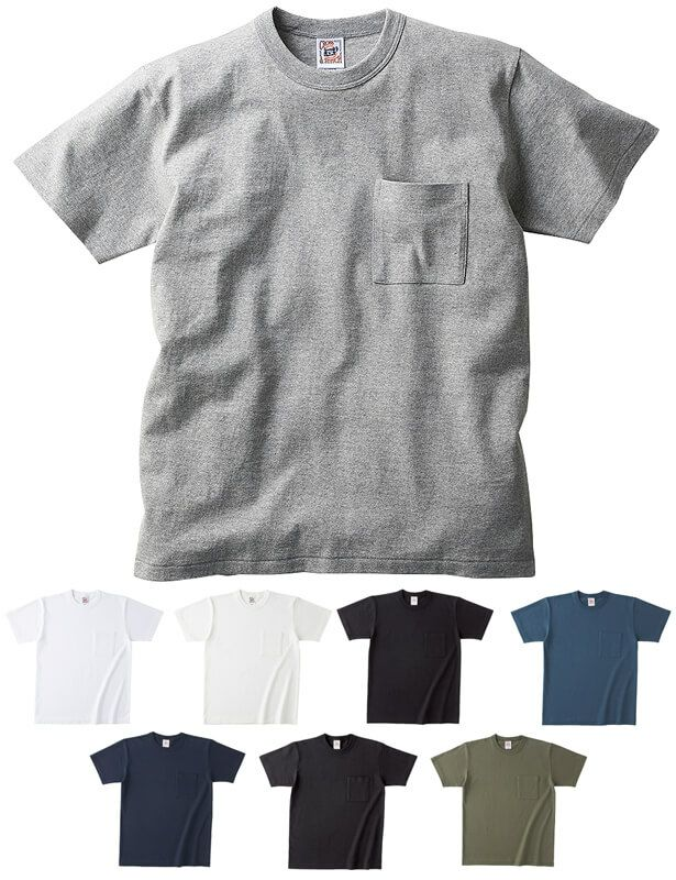 胸ポケット付き綿100%の厚手Tシャツ(6、2オンス)