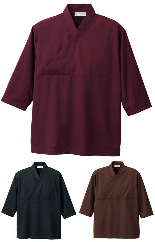 和風ニットシャツ(作務衣風・ストレッチ・吸汗速乾)